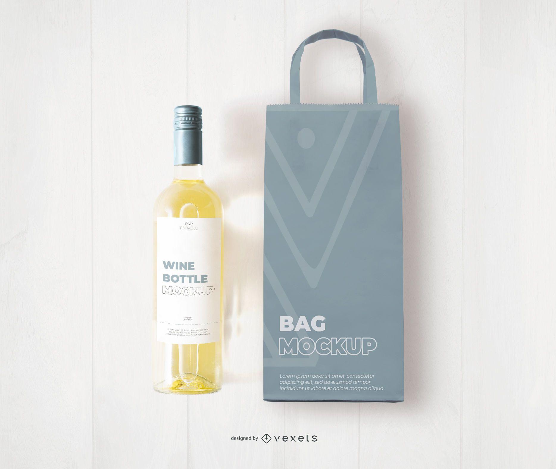 Maqueta de bolsa y botella de vino blanco