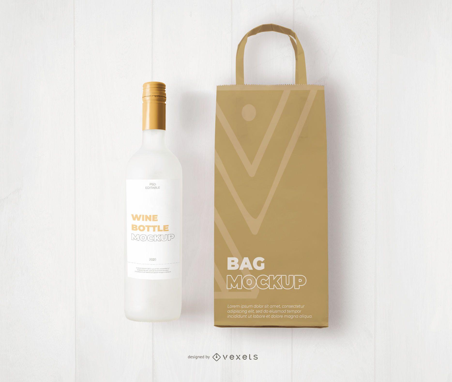 Maqueta de marca de bolsa y botella de vino