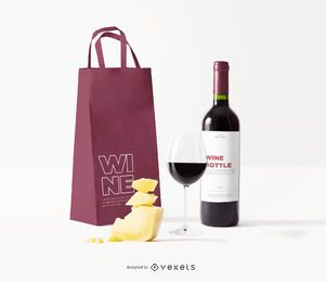 maquete de saco de rótulo de garrafa de vinho