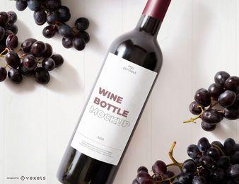 maquete de rótulo de garrafa de vinho tinto