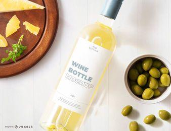 Maquete de rótulo de garrafa de vinho branco