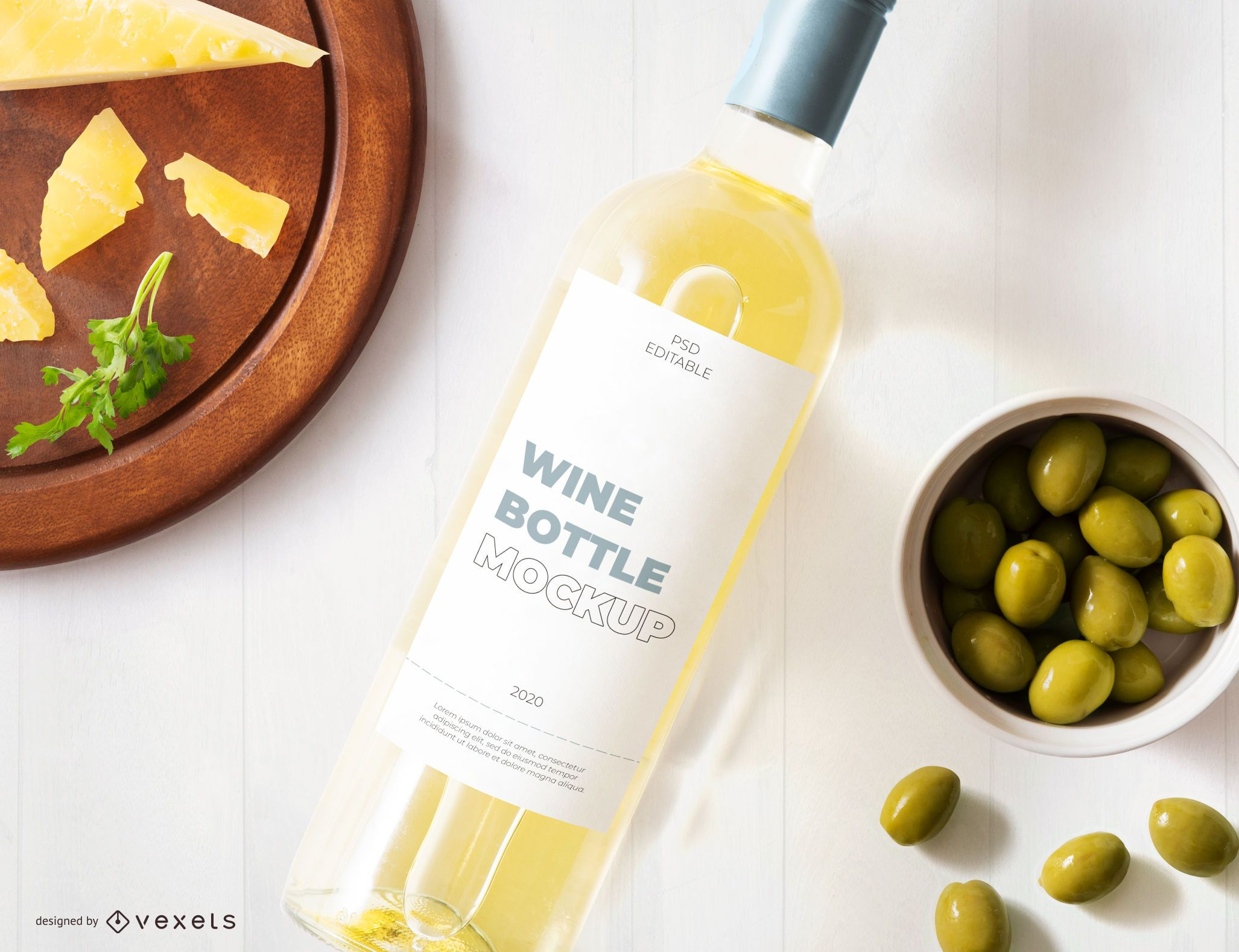 Maqueta de etiqueta de botella de vino blanco
