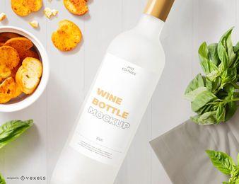 Design de maquete de rótulo de garrafa de vinho