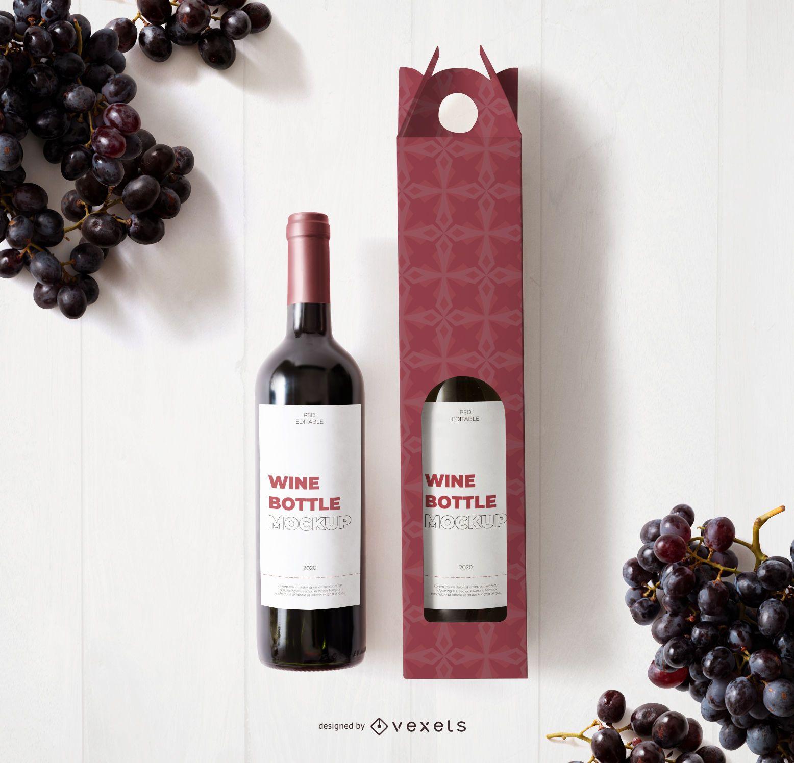Wine Bottle Label Mockup Composition