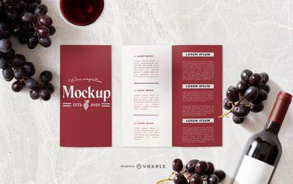 Composición de maqueta de folleto de vino