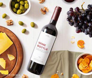 composición de maqueta de etiqueta de botella de vino