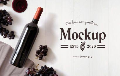 Maquete de composição de uvas para vinho