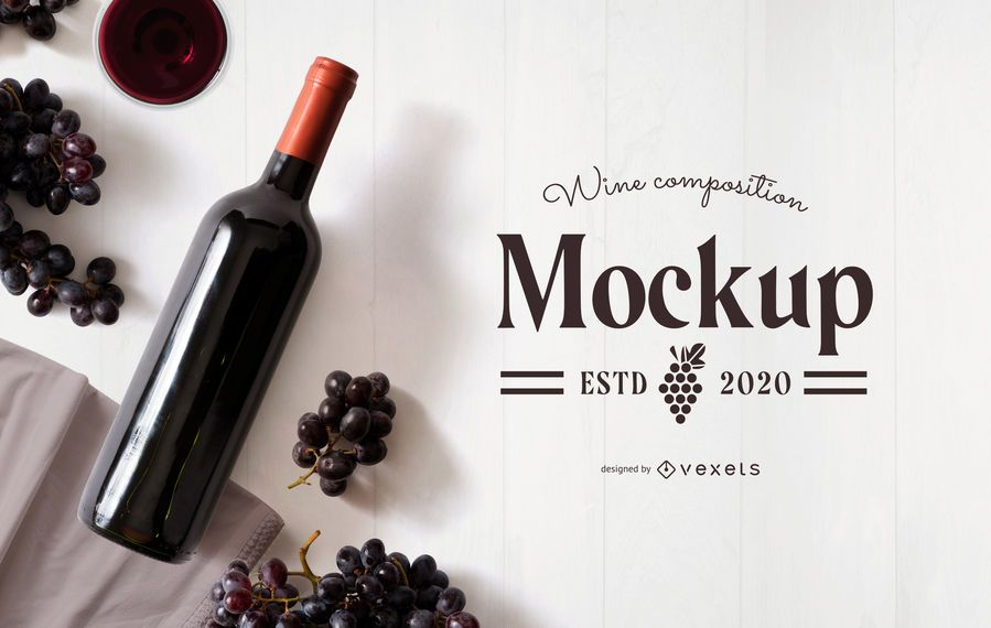 Wine grapes composition mockup