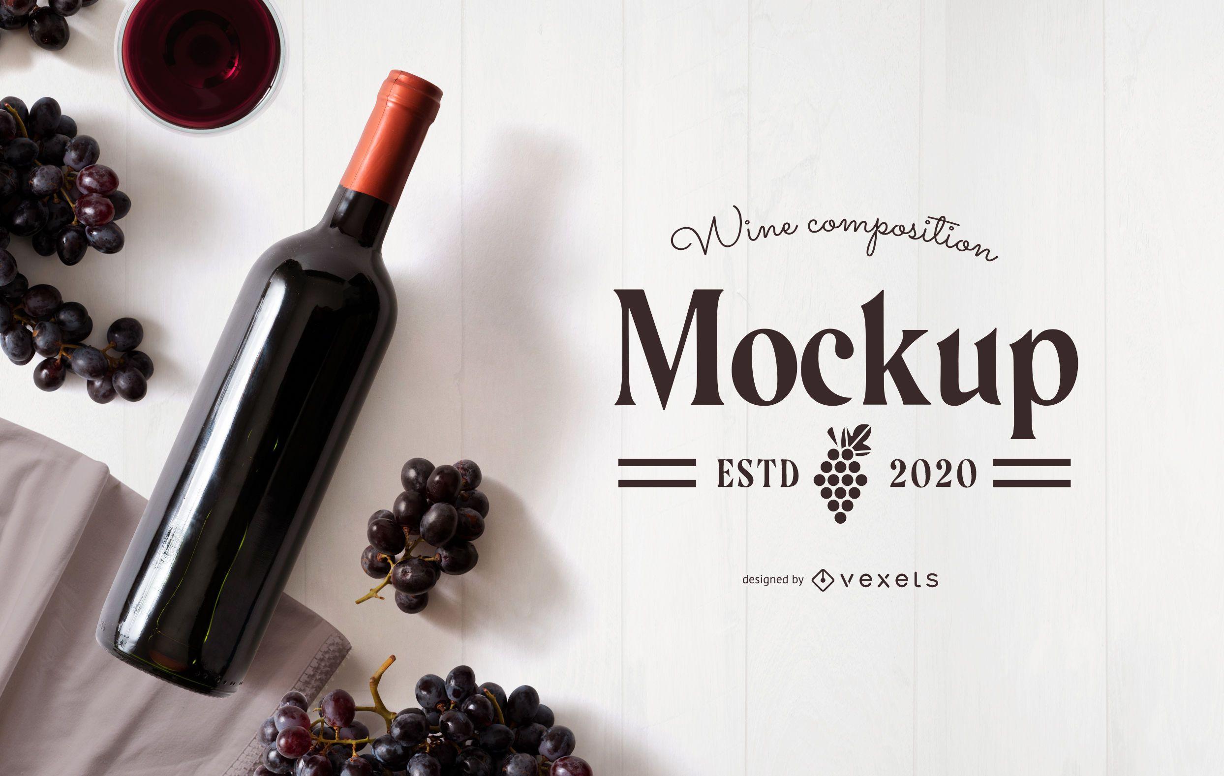 Wine grapes composition mockup