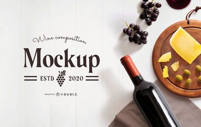 Wine cheese composition mockup