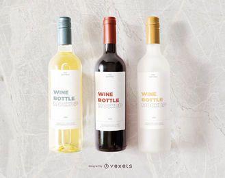 maquete de rótulo de garrafas de vinho