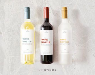 wine bottles label mockup