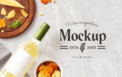 Maquete de composição de comida de vinho