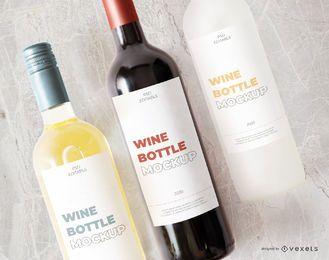 garrafas de vinho rótulo maquete composição