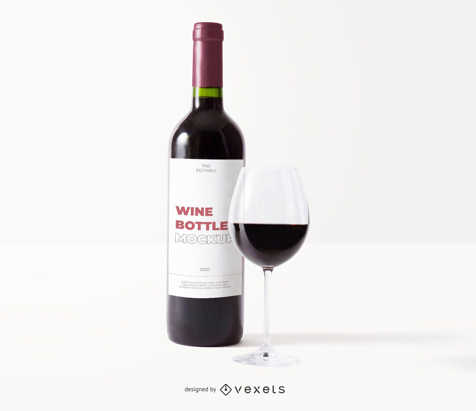 maqueta de vidrio de etiqueta de botella de vino
