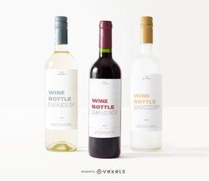 maquete de rótulo de três garrafas de vinho