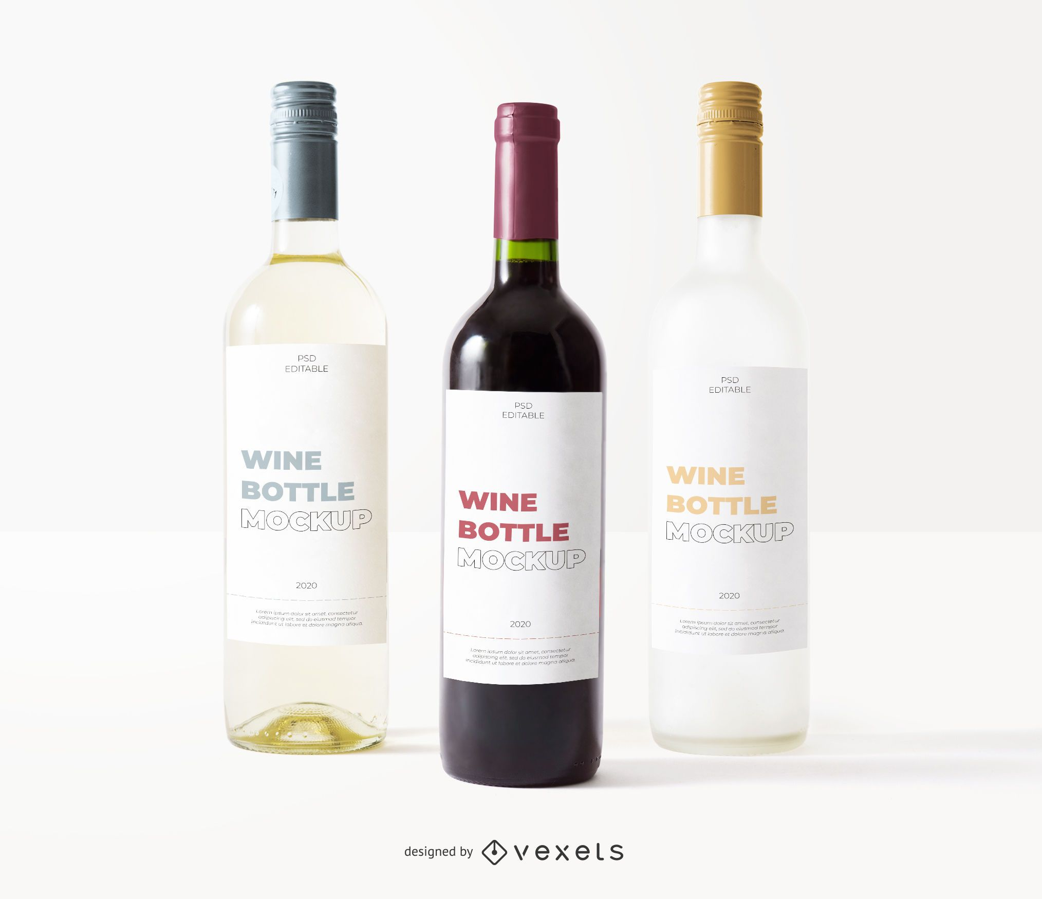 maqueta de etiqueta de tres botellas de vino