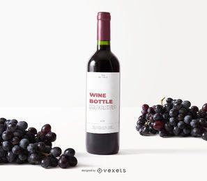 garrafa de vinho rótulo maquete de uvas