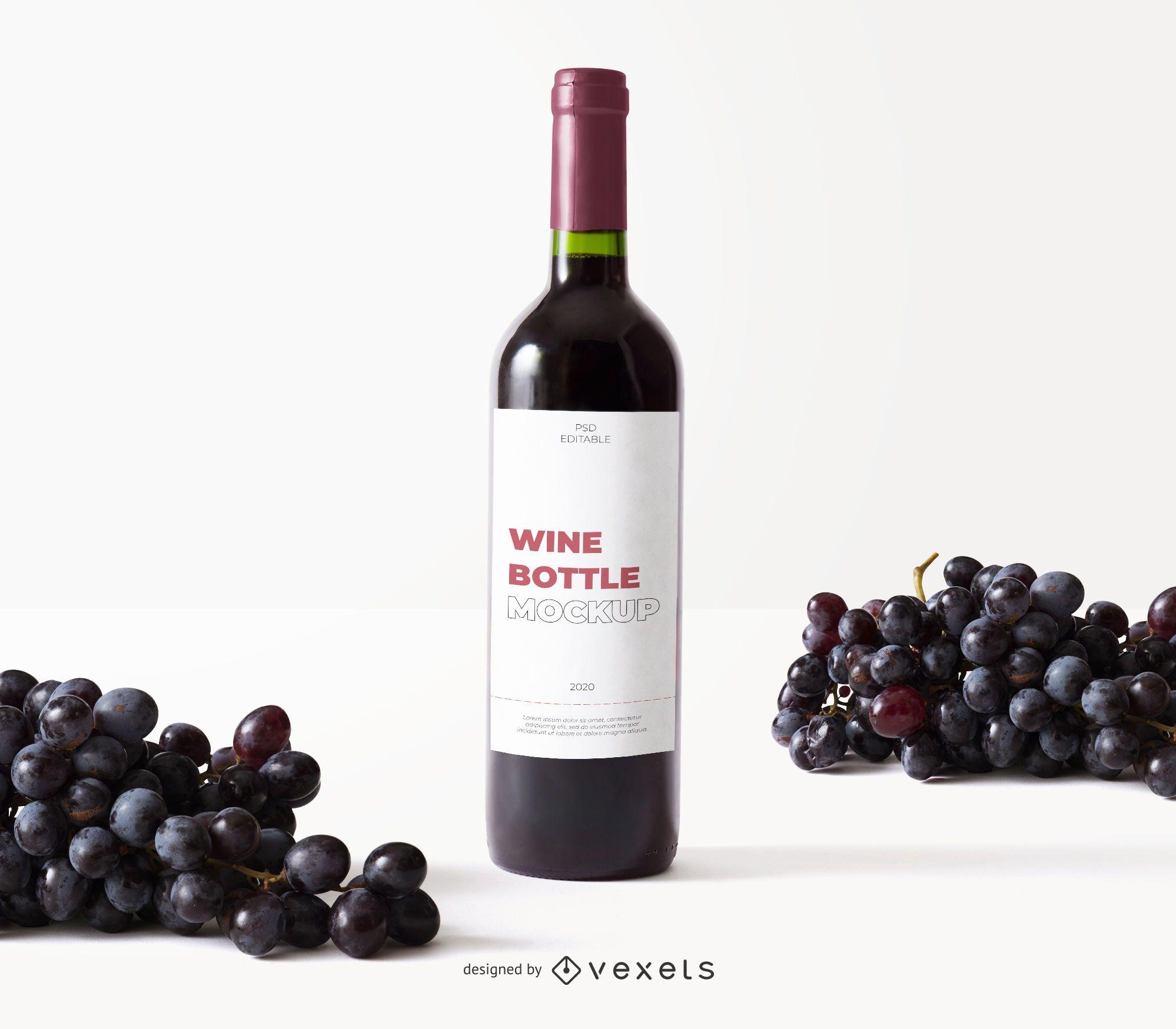 maqueta de uvas de etiqueta de botella de vino