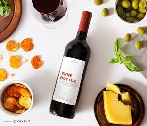 composição de maquete de rótulo de garrafa de vinho tinto