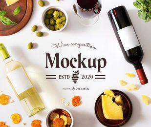 maqueta de composición de botellas de vino
