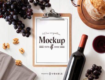 Maqueta de portapapeles de composición de vino