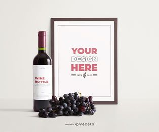 Wine frame grapes composition mockup