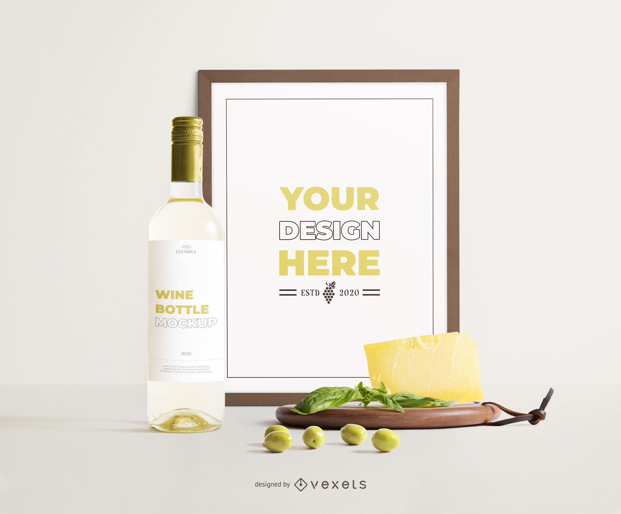 wine frame cheese composition mockup