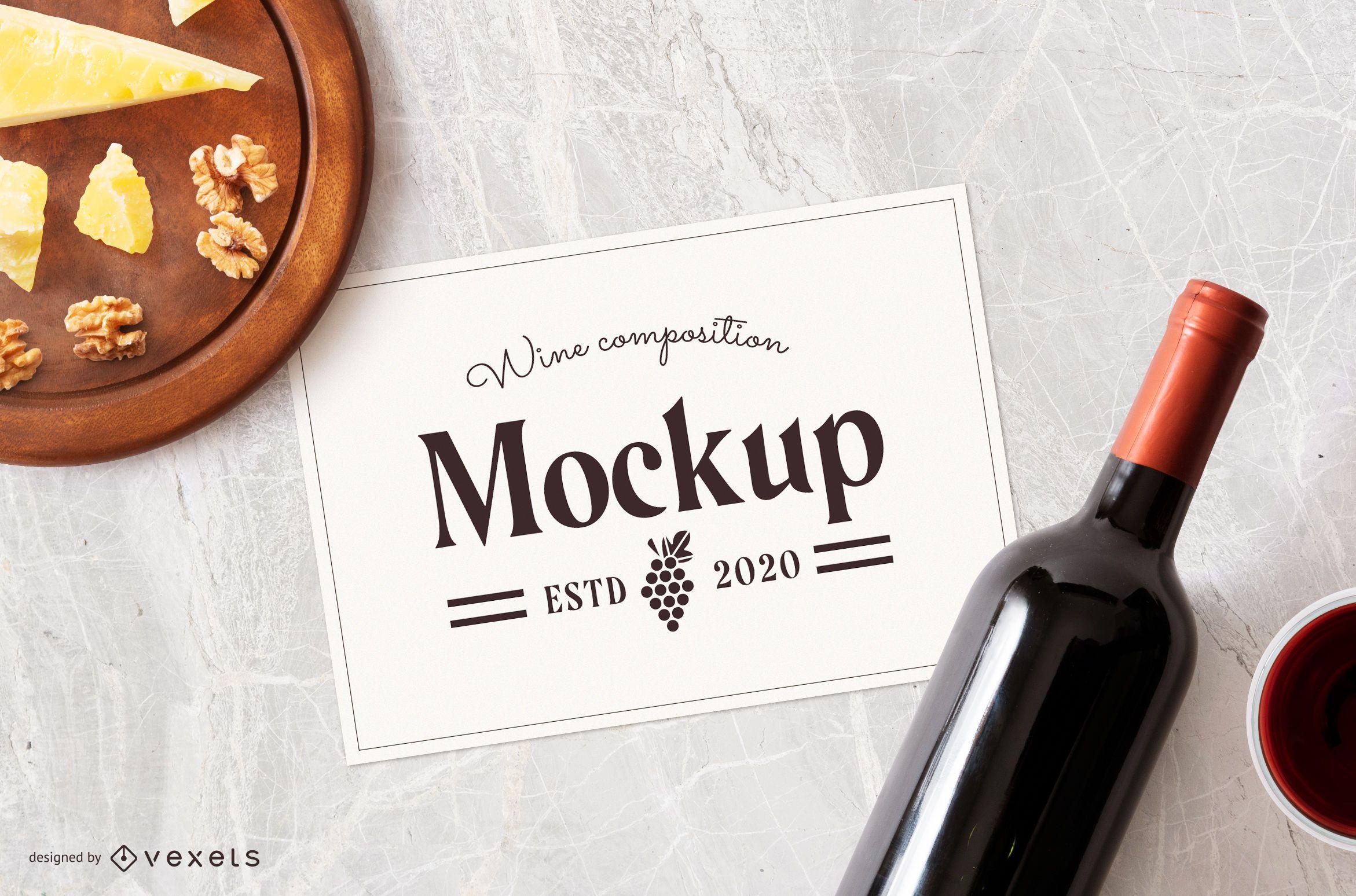 Wine paper sheet composition mockup