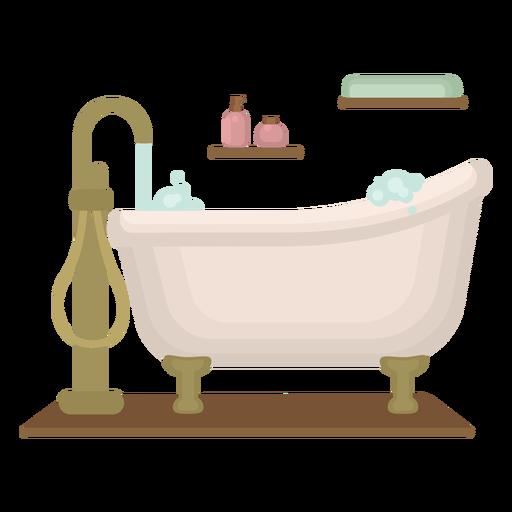 Bubbly classy bathtub flat Transparent PNG