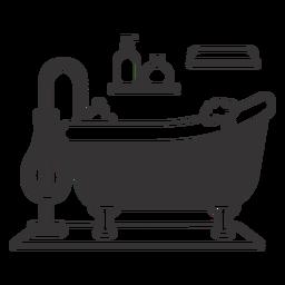 Silueta de bañera burbujeante con clase