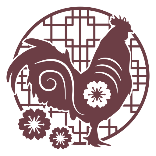 Chinese horoscope rooster composition