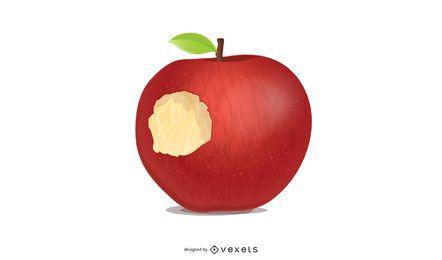Ilustración de manzana mordida