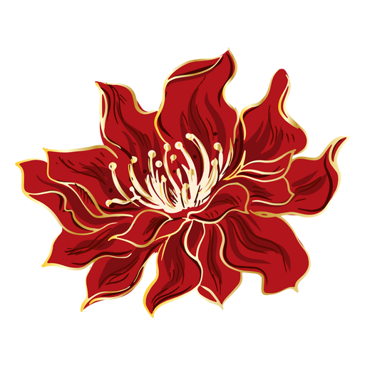 Chinese red flower design Transparent PNG
