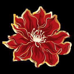 Mão de flor vermelha chinesa desenhada