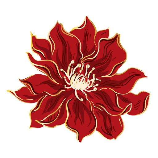 Chinese red flower hand drawn Transparent PNG