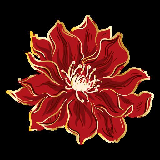 Dibujado a mano flor roja china Transparent PNG