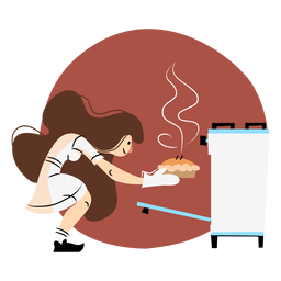 Cooking oven woman colored