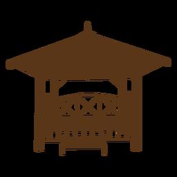 Acogedora silueta de cabaña de bambú