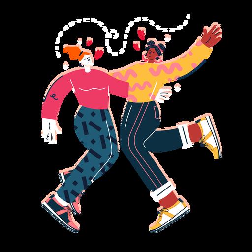 Cute women dancing couple