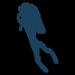 Silhueta de vista lateral para mergulho