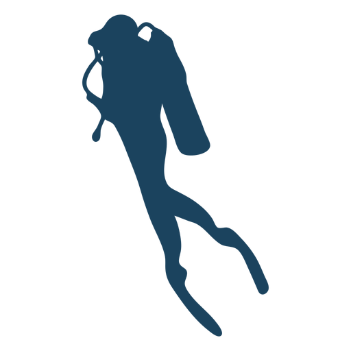 Diving side view silhouette