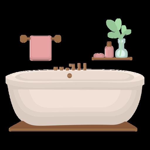 Elegant bathtub flat Transparent PNG