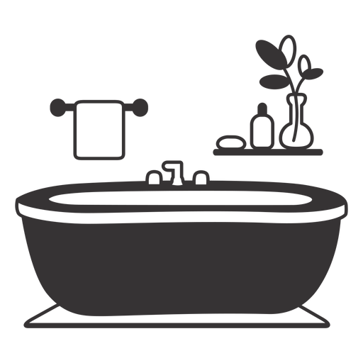 Elegant bathtub silhouette Transparent PNG