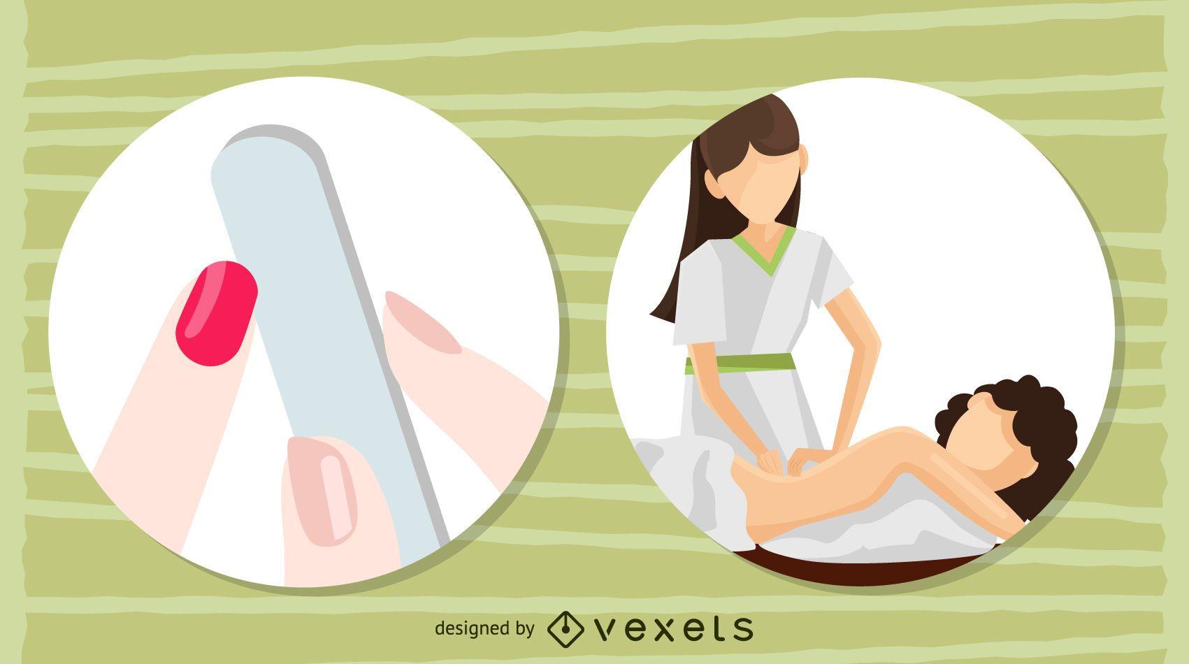 ilustraciones de manicura y masaje.
