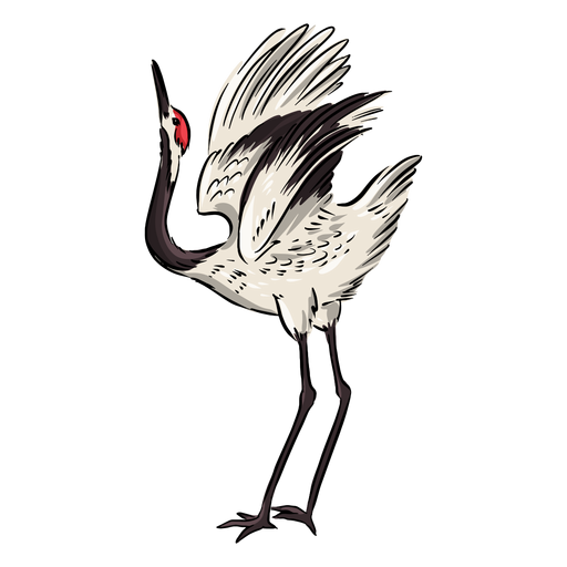 Head up crane bird