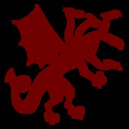 Heráldica emblema de cinco cabezas de silueta de dragón