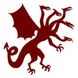 Heraldry emblem five headed dragon silhouette