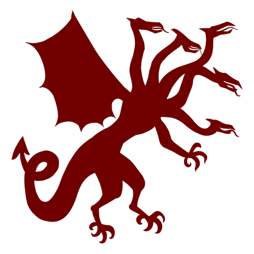 Emblema de heráldica silueta de dragón de cinco cabezas