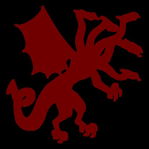 Heraldry emblem five headed dragon silhouette